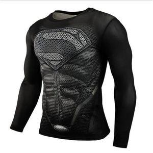 T-SHIRT MAILLOT DE SPORT Sport Fitness Compression de Chemise Men Superman cb0188b2d7b