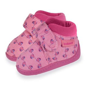 b92ff093a6119 CHAUSSON - PANTOUFLE Chaussons Velcro Jersey Fille - Rose - 99465-Abs-2