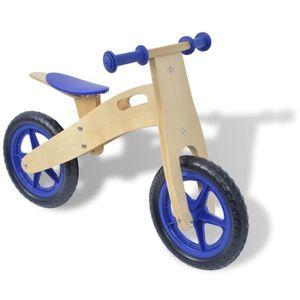 PORTEUR - POUSSEUR Vélo d'équilibre en bois bleu