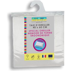 TAIE D'OREILLER Taie d'Oreiller Extensible 40x60 cm Blanche - Spéc