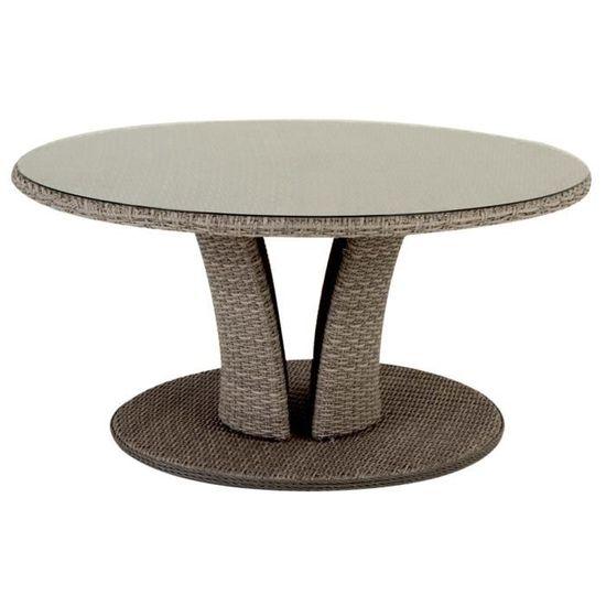 Table ronde résine tressée LIBERTAD 8 places Ø160 cm Taupe ...