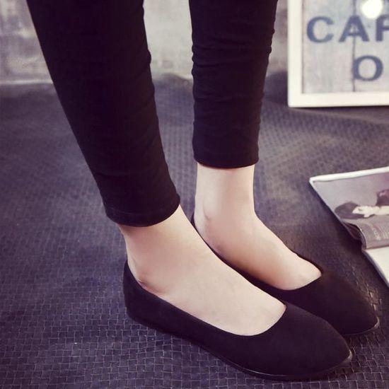 Femmes Femmes Slip On Chaussures plates Sandales Casual Ballerines Taillenoir Noir Noir - Achat / Vente slip-on