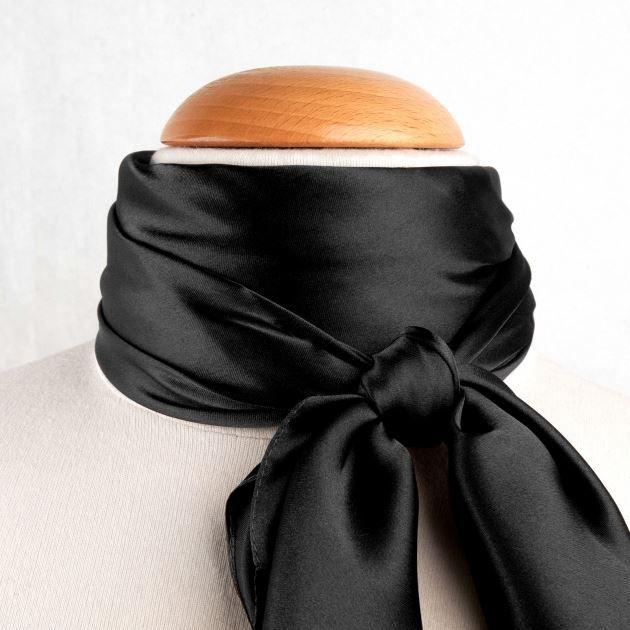 cc8c3240328 Grand foulard carré Polysatin NOIR uni - Achat   Vente echarpe ...