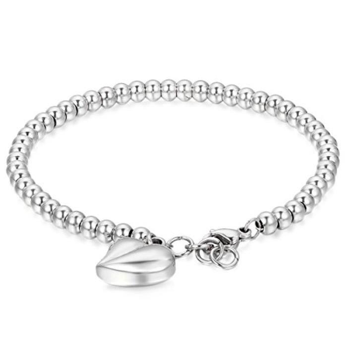 Bracelet Femme Coeur Rond Poli Acier Inoxydable Chaîne De Main Couleur Argente Bijoux 1190