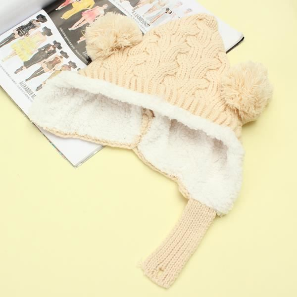 d826e893bd16 Bébé Bonnet Tricot Crochet Enfant Chaud Hiver Pompon Animal Beige TU ...