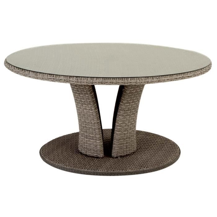 Table ronde r sine tress e libertad 8 places 160 cm taupe hesp ride acha - Table ronde en resine tressee ...