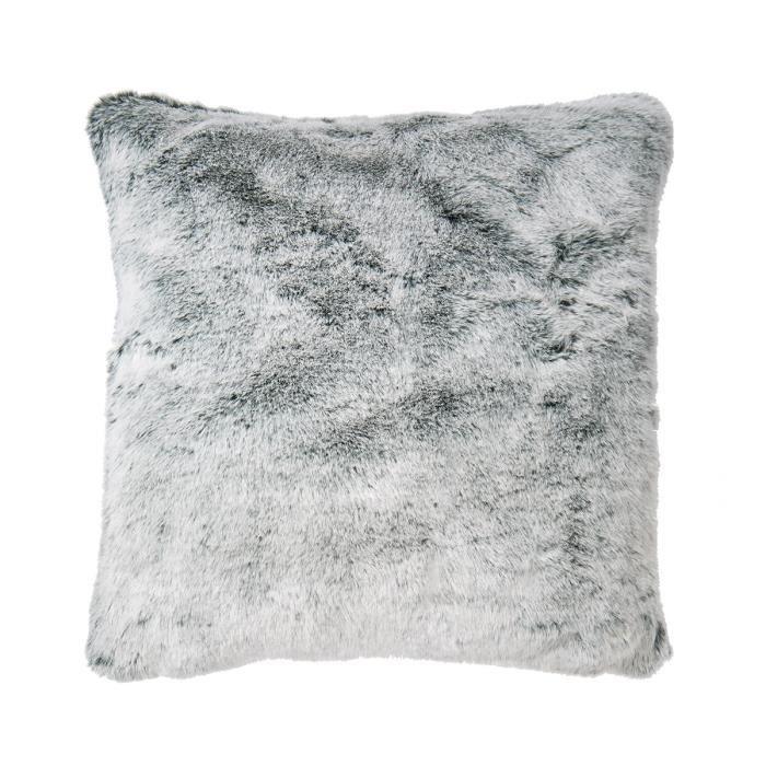 coussin fourrure gris achat vente pas cher. Black Bedroom Furniture Sets. Home Design Ideas