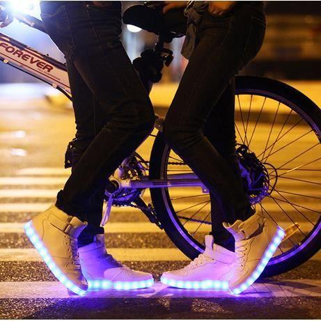 7 Couleur Homme USB Charge LED Lumière Lumineux Clignotants Chaussures de Sports Baskets Noir Blanc
