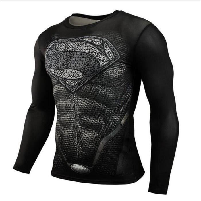 Sport Fitness Compression de Chemise Men Superman Culturisme manches longues  3D T-shirt c538ddc19910