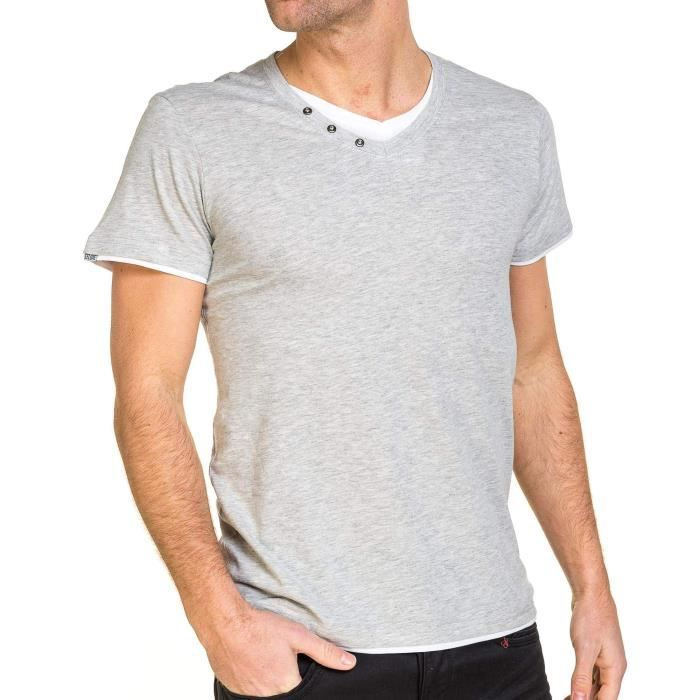 Uni Gris Tshirt Col Achat V Double Homme Superposition 0nwPk8O