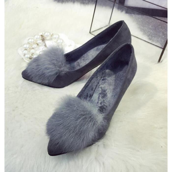 Chaussures à talon hiver nouveau suède poils de lapin femelle mA247LiDZ0