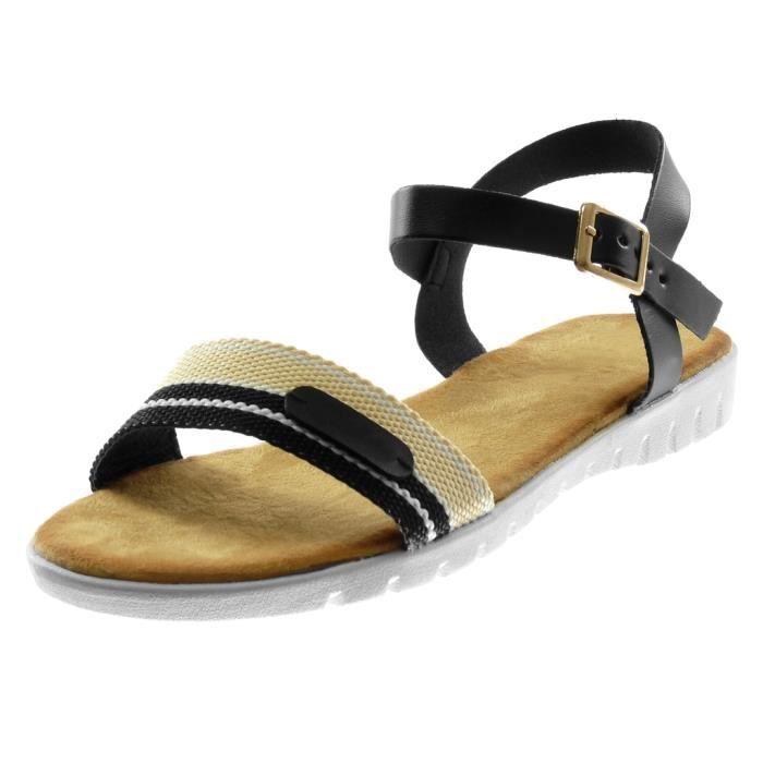 Angkorly - Chaussure Mode Sandale lanière cheville semelle basket bi-matière femme tricolore lanière boucle Talon compensé 2 CM -