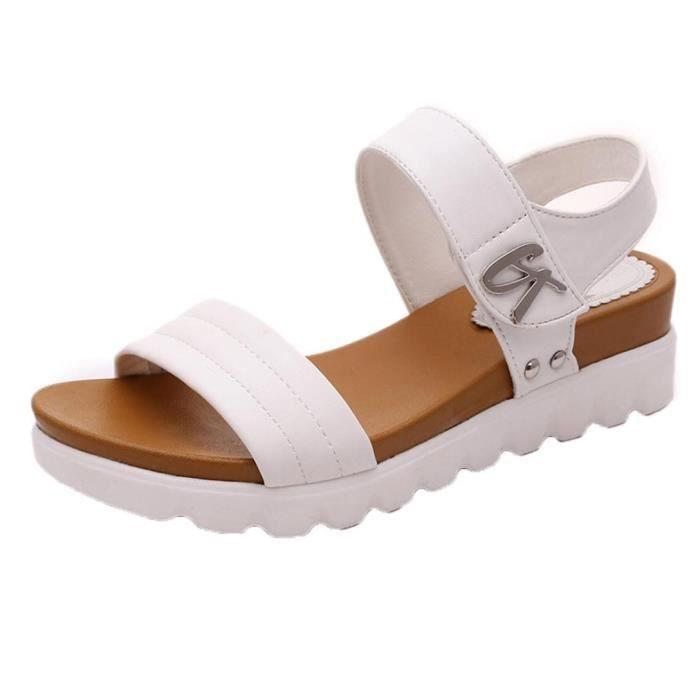 Mode Confortables ges D't blanc Dames Femmes Sandales Chaussures De Plates wZ6S4q