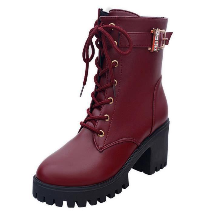 Bottes Oxford Moyen Cheville Martin Cuir Wedges Femme En Chaussures Rouge  Mode qI8fawX 13554780c5bc