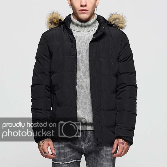 regard détaillé d2636 3bb3e Manteau en Coton Homme Casual Veste Capuche Fausse Fourrure Vêtements Hiver  Noir M