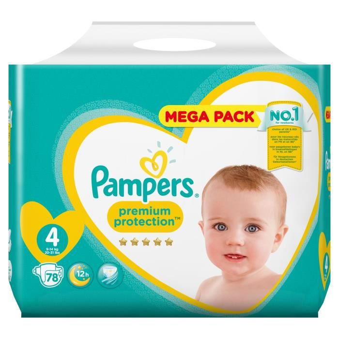 Pampers Premium Protection Taille 4 9 A 14 Kg 78 Couches Mega