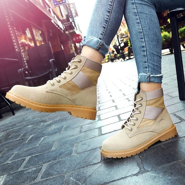 Botte Femme femmes Tendance Fashion High Top Roung Toes Skater Martinblanc taille39