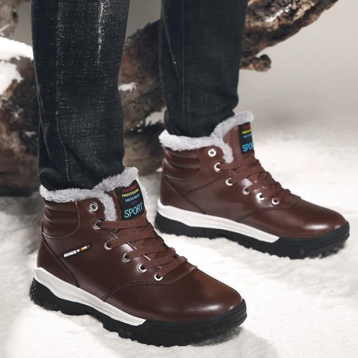Mode Hommes Chaussures Hommes Bottes hiver Botas Hombre fourrure à lac-s chauds Bottes de neige en cuir Taille Plus 39-48,marron,45