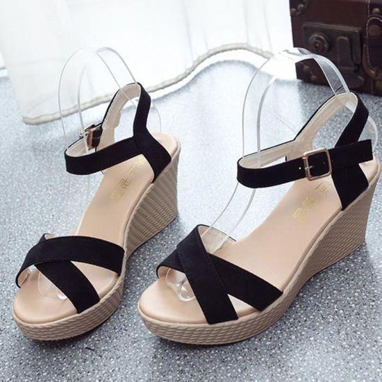 noir Poisson Plate Strap Pente forme Sandales Les Boucle Escarpin Benjanies Bouche Femmes Antidérapants De XOwPk80Nn