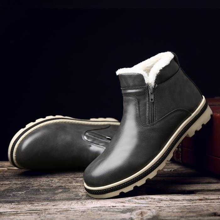 Botte Homme Hiver - automne en cuir épaisBas noir taille8.5