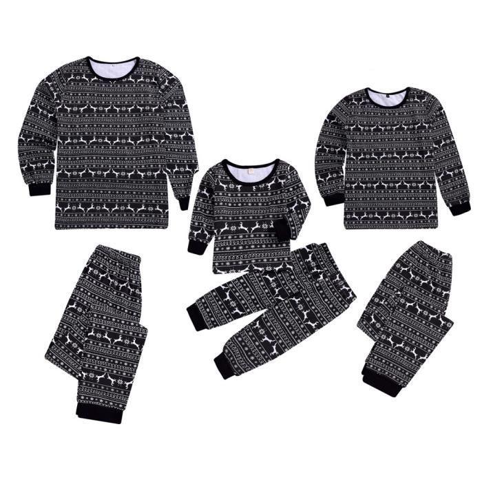 shirt Bébé De Enfants Tenues Cerfs Pyjama Noël Nuit Famille Pantalons noir Fille T zgZqwdnFZ