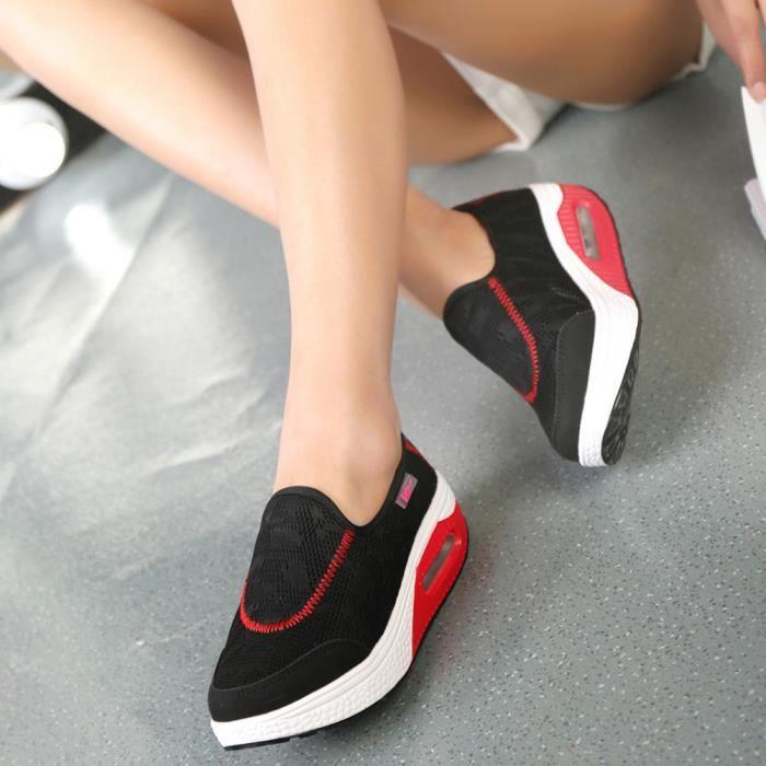 Femmes Casual D'air De Mesh Épaisse Chaussures Outdoor Baskets Reservece Noir Coussin Semelle Sport BFRHpnW