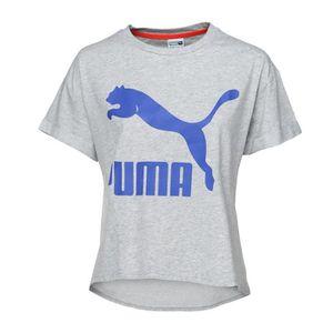 PUMA T-shirt Story Manches courtes - Femme - Blanc et bleu