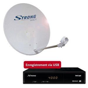 Pack SRT 7404 Décodeur TNT récepteur satellite Pack STRONG SRTD63SPL702 Parabole avec t?te LNB
