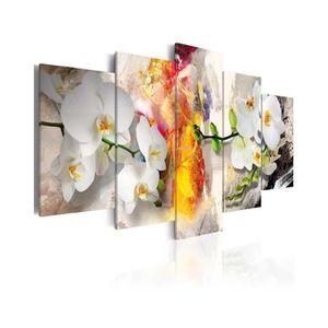 TABLEAU - TOILE Tableau Orchidée Et Couleurs - Dimension - 100x50.