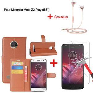 HOUSSE - ÉTUI Coque Pour Motorola Moto Z2 Play Marron Housse - i