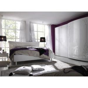 Chambre à coucher complète blanc laqué design ARABESQUE - Armoire ...