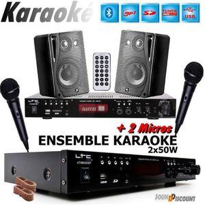 PACK SONO PACK KARAOKÉ + 2 MICROS + 1 AMPLI USB BLUETOOTH +