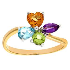 BAGUE - ANNEAU Revoni Bague Multi Gem et Diamant Or Jaune 375° Fe