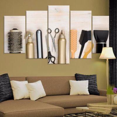 5 Panneaux Imprimes Toile De Salon De Coiffure Outils Multi Panel
