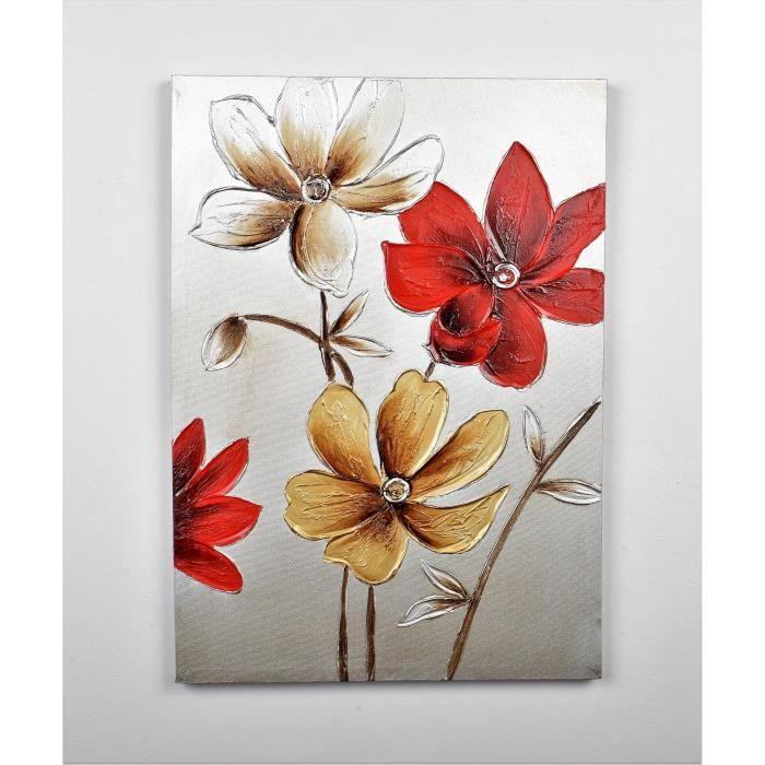 tableau peint fleurs rouge achat vente tableau peint fleurs rouge pas cher cdiscount. Black Bedroom Furniture Sets. Home Design Ideas