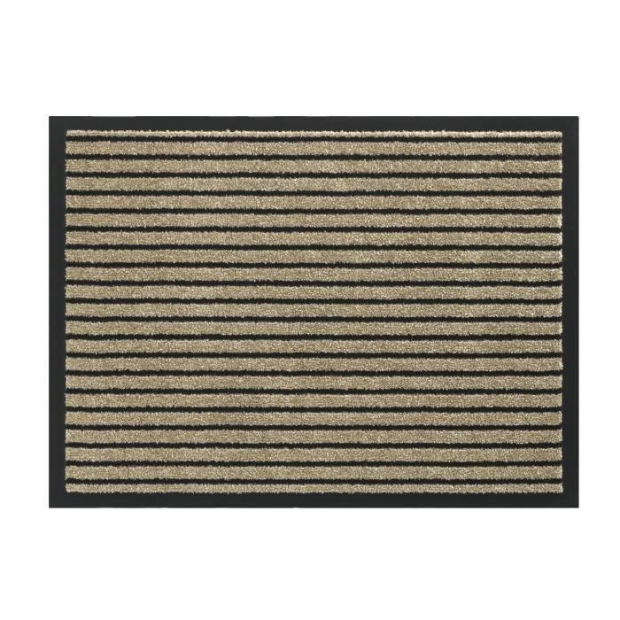 Couleur sable - lavable 30° - 100% Polyamide - 60x80 cm bordure vinyl - Usage intérieurTAPIS D'ENTREE - TAPIS DE SEUIL
