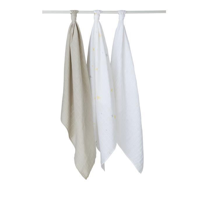 BABYCALIN Lot de 3 langes Etoile - Gris et blanc - 70 x 70 cm