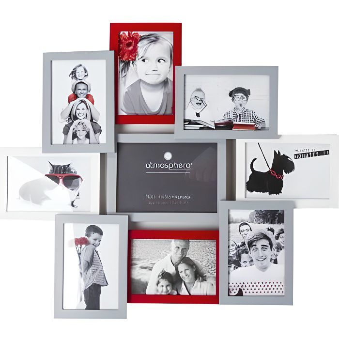 cadre photo pele mele gris achat vente cadre photo. Black Bedroom Furniture Sets. Home Design Ideas