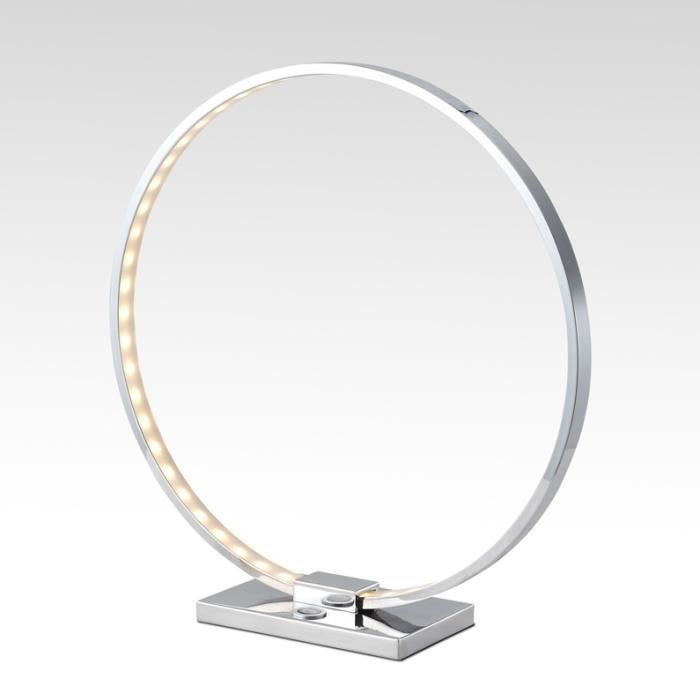 Lampe A Poser Chrome Led Collection Circle Achat Vente Lampe A