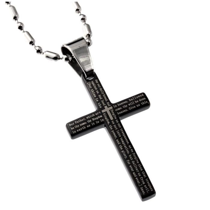 Womens Stainless Steel Small Black Cross 32mm Length The Lords Prayer 1662 Anglican Version FR0CY