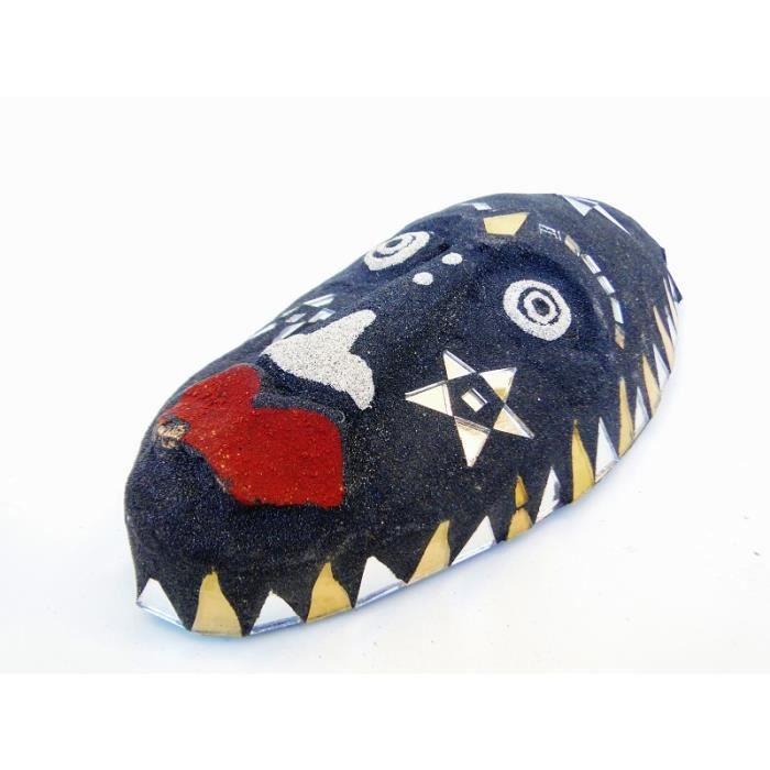 MASQUE DÉCORATIF  Masque africain décor sable noir décoration triba