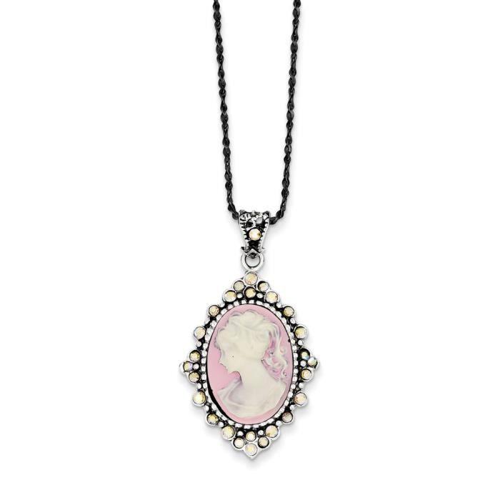 Collier avec pendentif en argent sterling et cristal-camée 40,64 cm-ressort