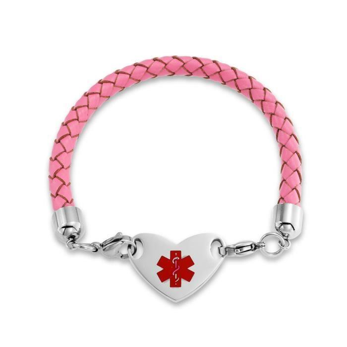 Bling Jewelry Rose en Cuir Tressé en Acier Inoxydable Cœur Alerte Médicale Bracelet dIdentification 7 Pouces