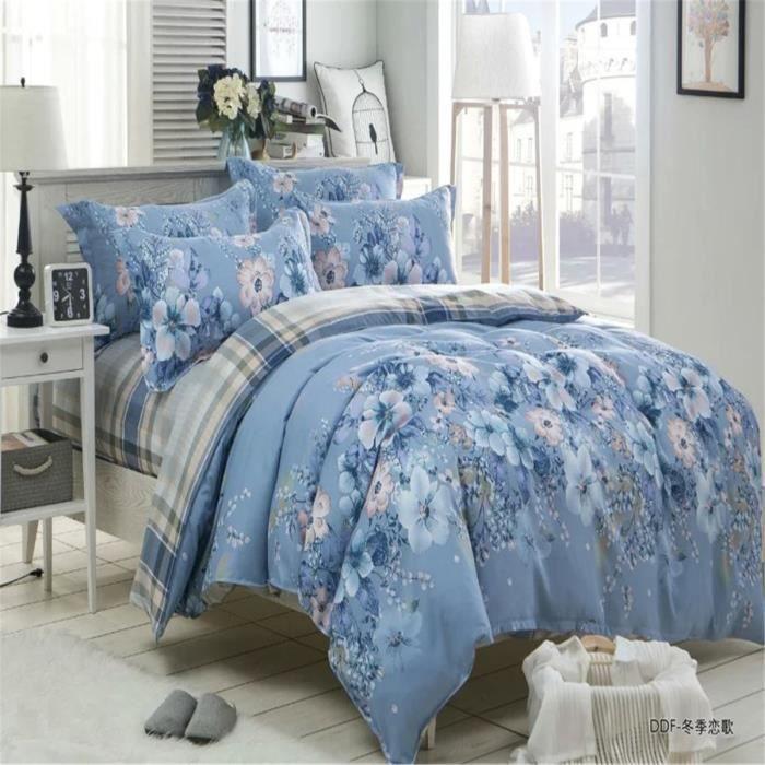 parure de lit fleurie bleu achat vente parure de lit fleurie bleu pas cher soldes d s le. Black Bedroom Furniture Sets. Home Design Ideas