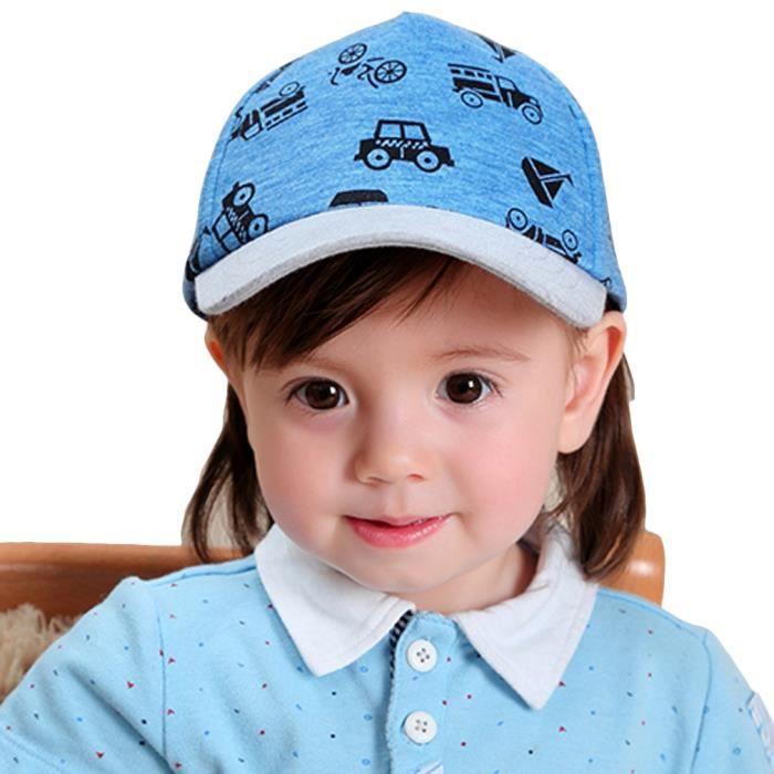 Chapeau de Baseball Casquette Bébé Enfant Garçon Fille Bonnet Coton Hip-Hop  Imprimé Voiture Bleu Été Solaire 6eef4019813