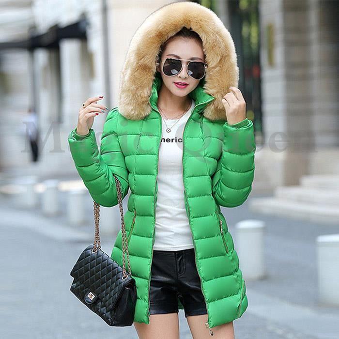 Manteau femme fourre capuche