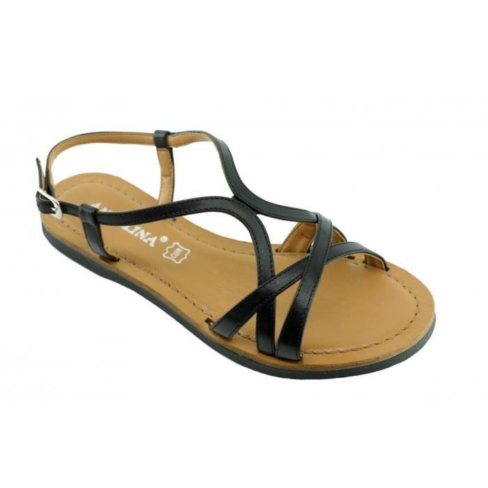 Lolita - sandale plat chaussures femme nu-pied spartiate marques Angelina St Tropez fabriqué Espagne cuir noir