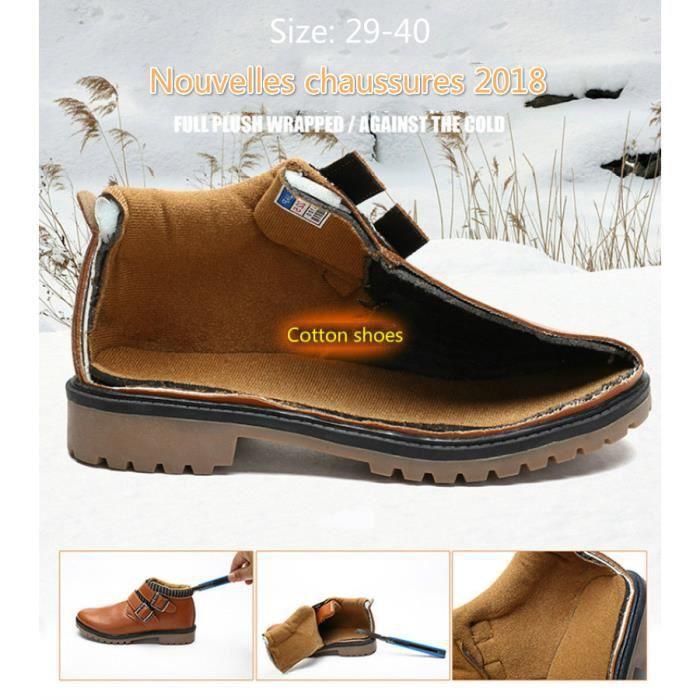 Chaussures Detente Garçons, chaussures en cuir, chaussures de neige , résistant à l'usure, chaud, imperméable à l'eau,