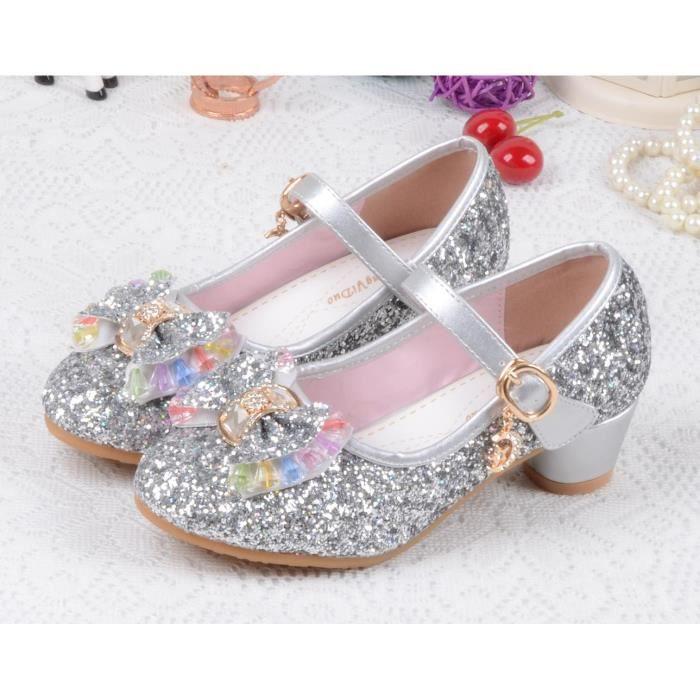 spécial chaussure marques reconnues sortie d'usine EOZY Ballerine à Talon Haute Fille Enfant Chaussure de Princesse Paillette  Nœud Papillon Mode Noble Anti-Dérapage Argent