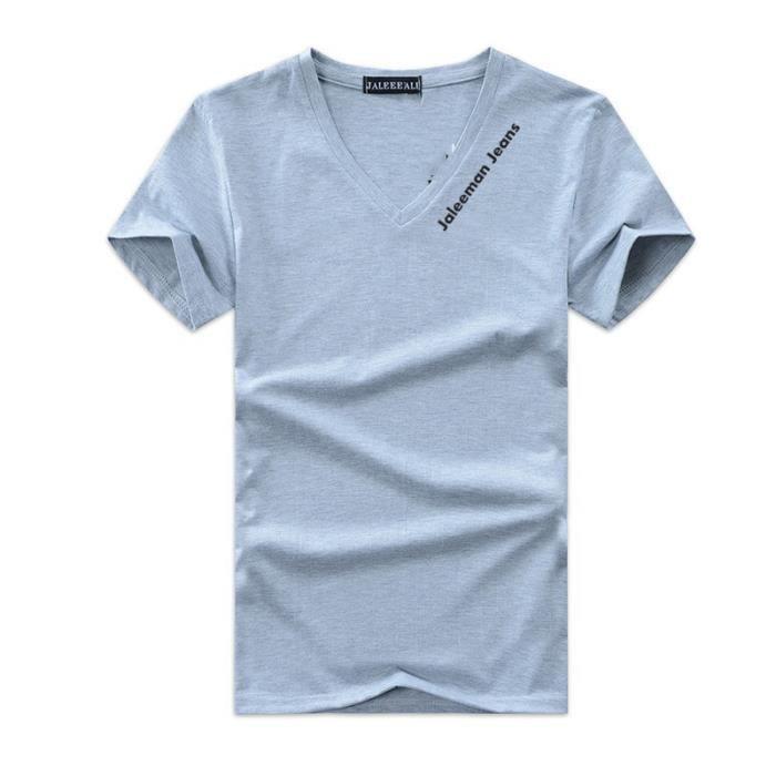 T shirt pas cher Hommes Col V Grande taille Lettres imprimées Couleur pure  coton Noir Polo Hommes VêTement Masculin 4fad169ddb9d